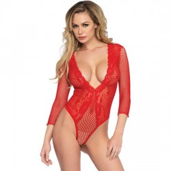 LEG AVENUE BODY DE RED Y ENCAJE ROJO