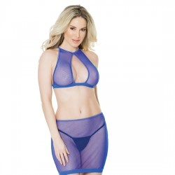 FISHNET HALTER TOP Y FALDA MORADO